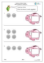 Count up in fives: piggybank