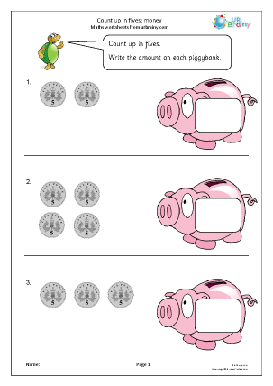 Preview of worksheet Count up in fives: piggybank