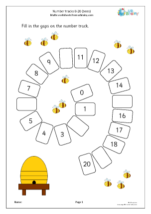 Preview of worksheet Number spirals 0 20: bees