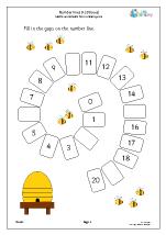 Number spirals 0 20: bees