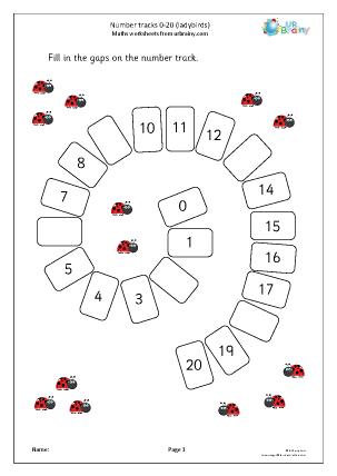 Preview of worksheet Number spirals 0 20: ladybirds