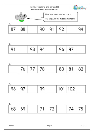 Preview of worksheet Number tracks to and across 100