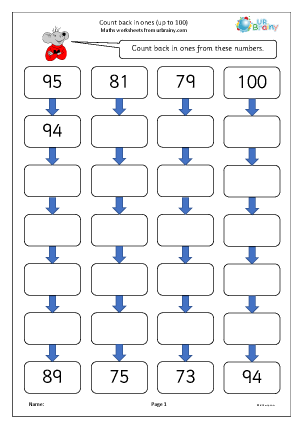 Preview of worksheet Count back in ones from up to 100