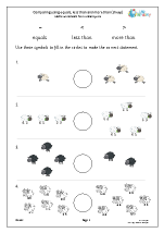 Comparing using the< > and = signs (sheep)