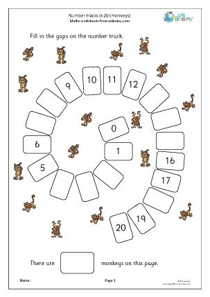 Preview of worksheet Harder number spirals 0-20 (monkeys)
