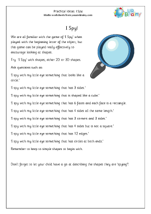 Preview of worksheet I Spy with shapes
