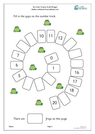 Preview of worksheet Harder number spirals 0-20 (frogs)