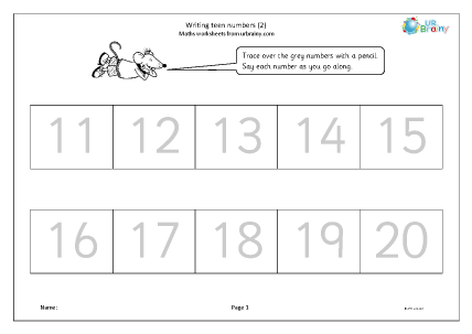 Preview of worksheet Writing teen numbers (2)