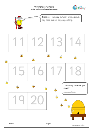 Preview of worksheet Writing teen numbers (1)