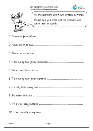 Preview of worksheet Solve problems in words (numbers up to 20)