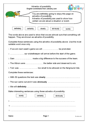 Preview of worksheet Adverbs of possibility