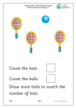 Count and match: bats and balls