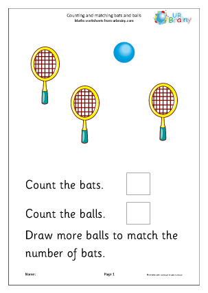 Preview of worksheet Count and match: bats and balls