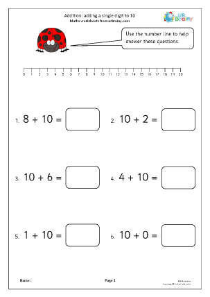 Preview of worksheet Adding a single digit to 10