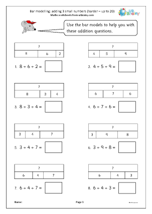 Preview of worksheet Bar modelling: add 3 small numbers up to 20