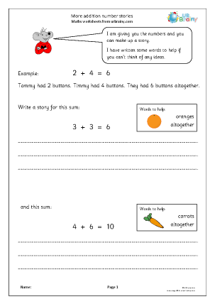 Preview of worksheet More addition number stories