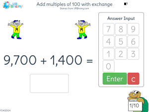 Add multiples of 100 with exchange
