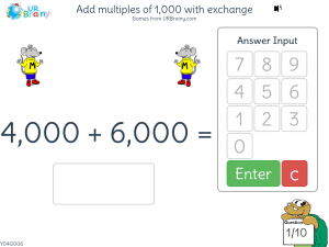 Add multiples of 1,000 with exchange