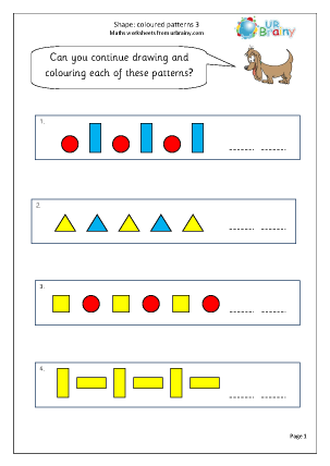 Preview of worksheet Shape colour patterns 3