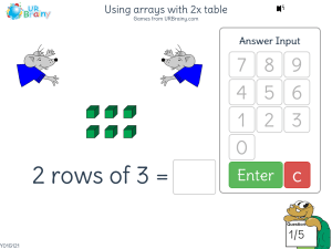 Preview of game Using arrays with 2x table