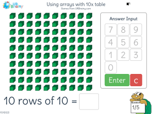 Preview of game Using arrays with 10x table