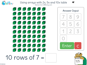 Preview of game Using arrays with 2x, 5x and 10x table