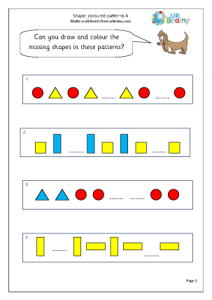 Preview of worksheet Shape colour patterns 4