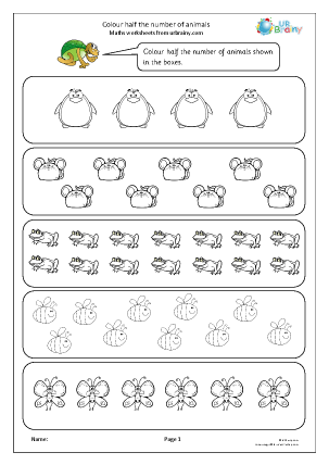 Preview of worksheet Colour half the number of animals