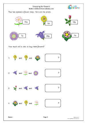 Preview of worksheet Shopping for flowers