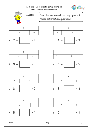 Preview of worksheet Bar modelling: subtracting small numbers