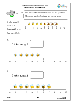 Subtracting bees using a number line