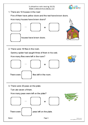 Preview of worksheet Subtraction not crossing 10 (3)