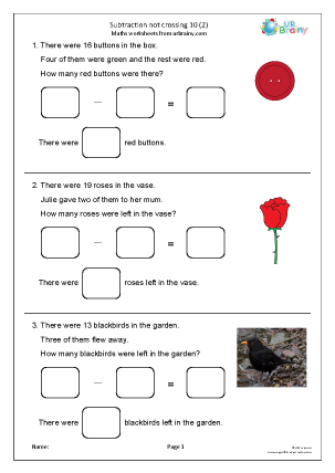Preview of worksheet Subtraction not crossing 10 (2)