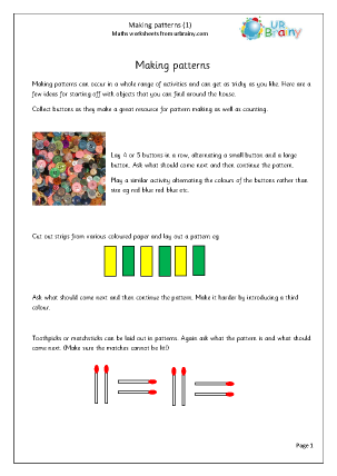 Preview of worksheet Making patterns