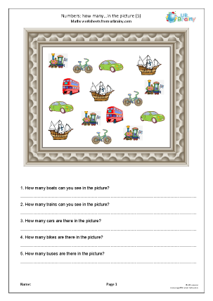 Preview of worksheet How many in the picture (5)