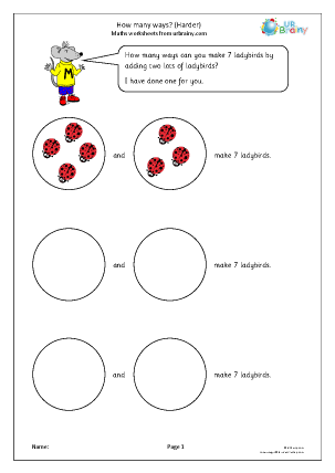 Preview of worksheet How many ways (harder)