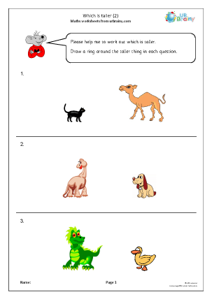 Preview of worksheet Which Is taller? (2)