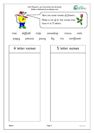 Preview of worksheet Sort flowers, animals etc
