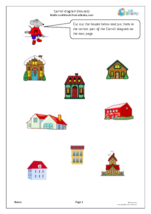 Preview of worksheet Carroll diagram: houses