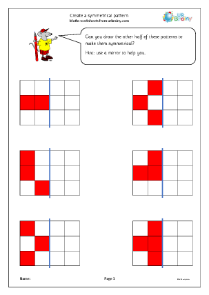Preview of worksheet Create a symmetrical pattern