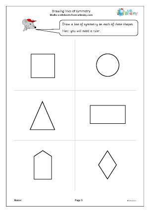 Preview of worksheet Drawing lines of symmetry
