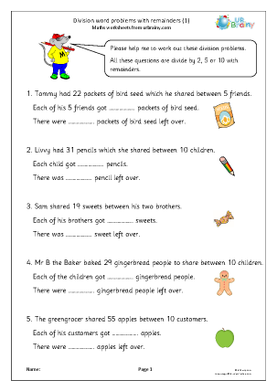 Preview of worksheet Division word problems with remainders (1)