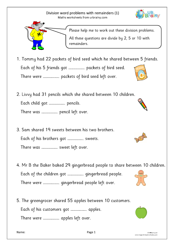 Preview of 'Division word problems with remainders (1)'