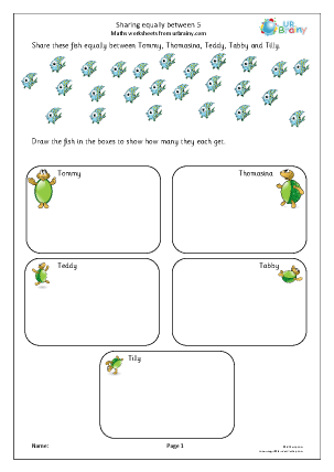 Preview of worksheet Sharing equally between 5