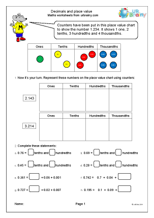 Preview of worksheet Decimals and place value