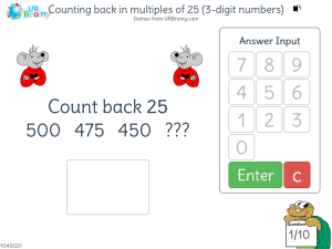Preview of game Counting back in multiples of 25 (3-digit numbers)
