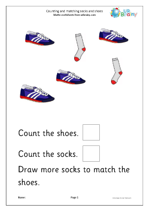 Preview of worksheet Count and match: shoes and socks