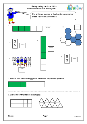 Preview of worksheet Recognise fractions: fifths