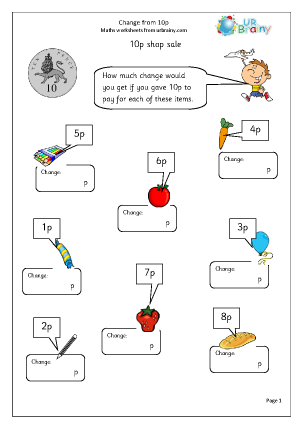 Preview of worksheet Change from 10p (2)