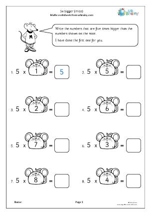 Preview of worksheet 5x bigger (mice)